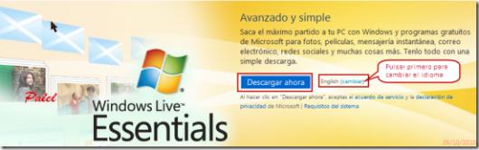 Página de descarga en los diferentes idiomas disponibles