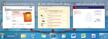 Miniaturas de ventanas abiertas con Internet Explorer