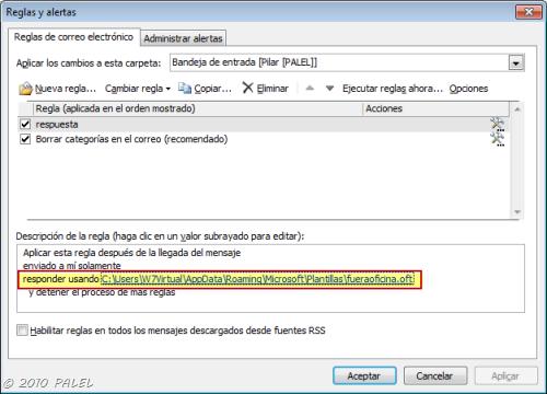 Outlook regla responder usando una plantilla determinada for Fuera de oficina gmail