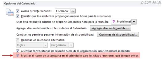 Activar o desactivar desde las opciones de Calendario