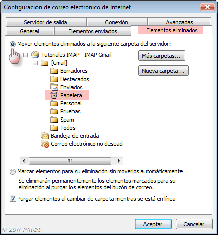 Configuración avanzada de las cuentas IMAP