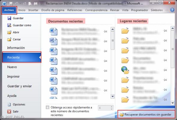 Office 2010 Recuperar Documentos Sin Guardar Y Versiones