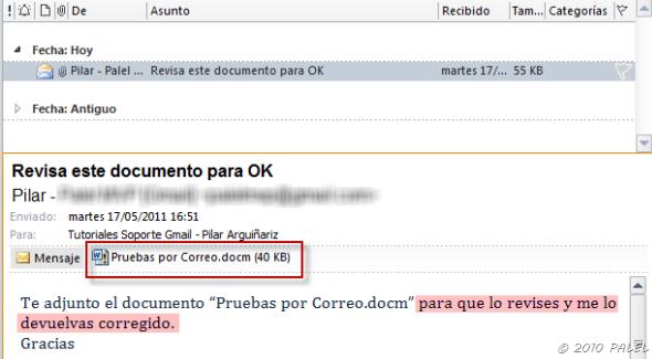 Office/Outlook: Modificar y Guardar documentos adjuntos a un mensaje de correo (2/6)