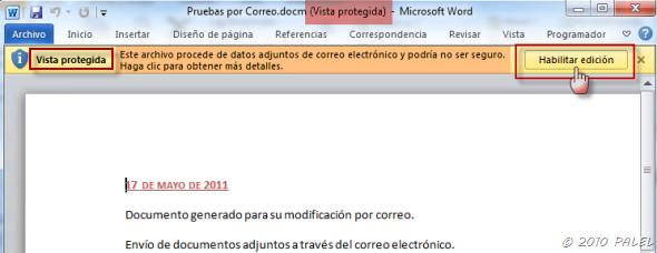 Office/Outlook: Modificar y Guardar documentos adjuntos a un mensaje de correo (3/6)