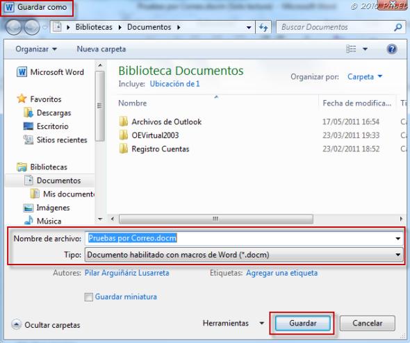 Office/Outlook: Modificar y Guardar documentos adjuntos a un mensaje de correo (5/6)