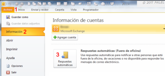outlook 2010 exchange asistente para fuera de oficina