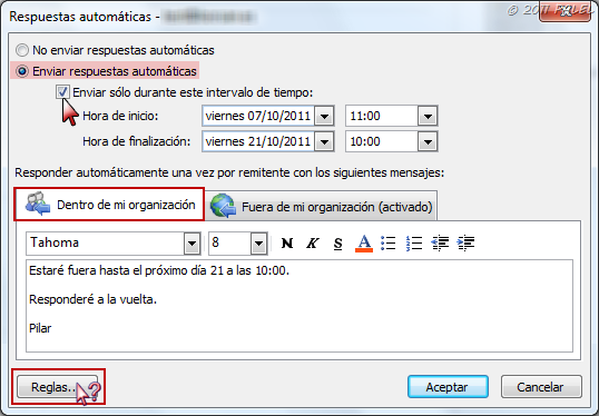301 moved permanently for Fuera de oficina gmail