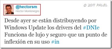 Publicación en Twitter de Héctor Montenegro el 3/11/2011