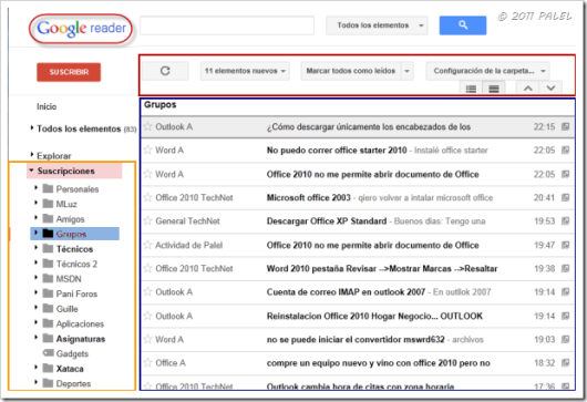 Nuevo diseño de Google Reader