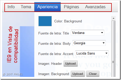 Personalización con la Vista de compatibilidad de IE9 activada.
