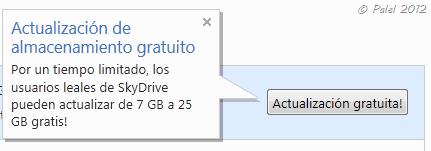 Actualización gratuita de SkyDrive de 7 a 25 GB de espacio