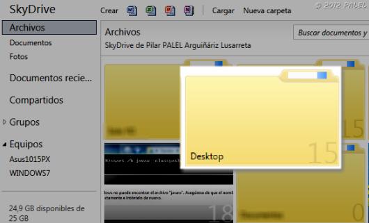 Copia de la carpeta del Sistema DESKTOP en SkyDrive (en la nube)