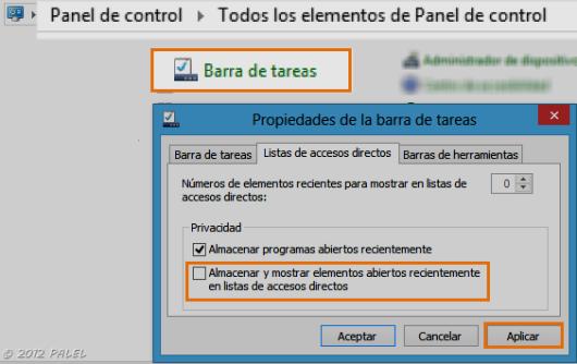 Panel de Control - Barra de tareas