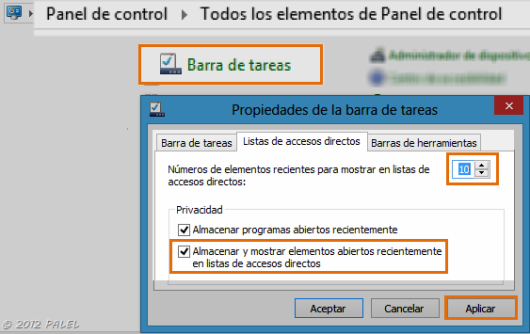 Panel de Control - Barra de tareas 2