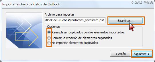 Archivo a importar - Opciones