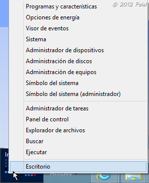 Menú Inicio de Windows 8 - submenú