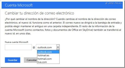 Outlook.com - Opciones de correo - Cambiar el nombre de tu dirección de correo electrónico