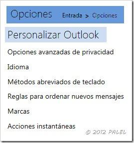 Outlook.com - Opciones de correo - Personalizar Outlook
