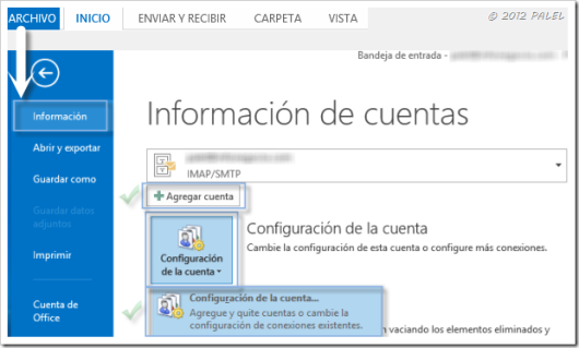 Acceso a agregar cuentas en Outlook 2013