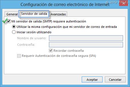 Fichas en Outlook 2013 - Servidor de salida