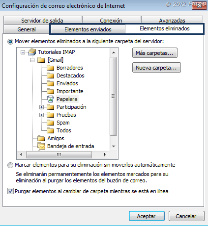 Fichas en Outlook 2010