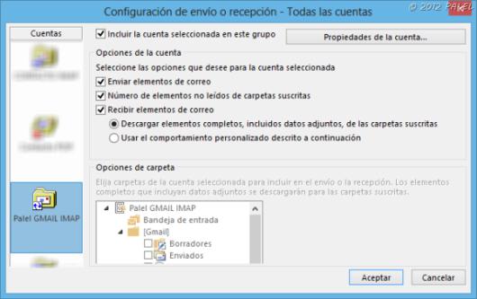 Envío y recepción en Outlook 2013